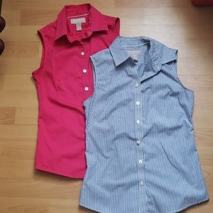 2 Banana Republic sleeveless non iron dress shirts